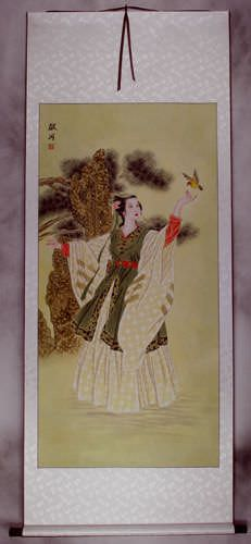 Taoist Nun Asian Women Wall Scroll Beautiful Asian