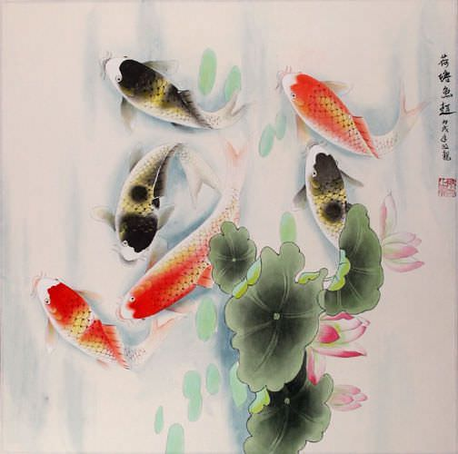 Koi fish having fun in the lotus pond painting asian koi for Koi fish pond lotus
