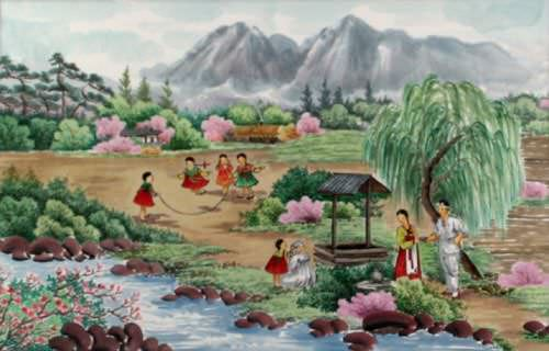 "See how ""North Korean Village Painting"" would look after being professionally framed"