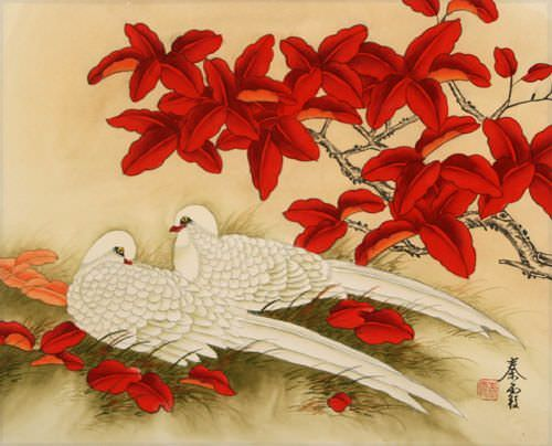 love birds pictures. White Love Birds Painting