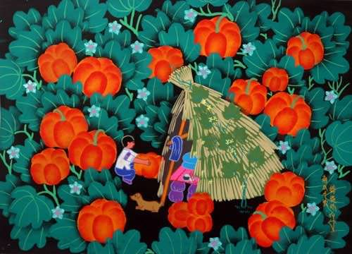Pumpkin Harvest - Chinese Folk Art Painting