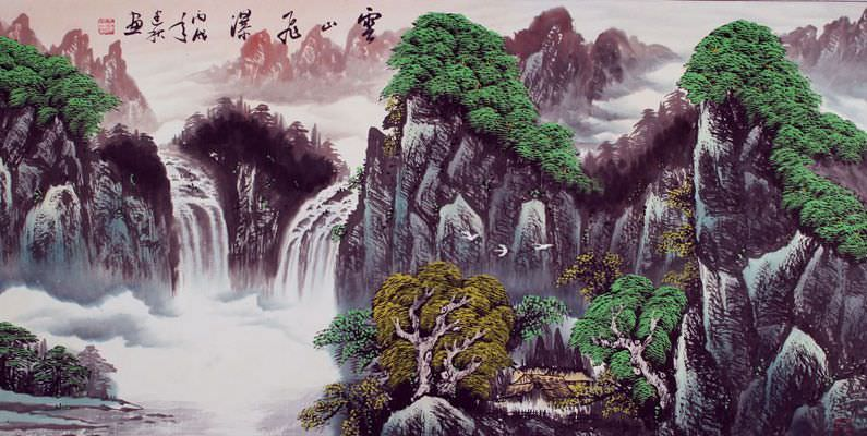 Cloudy Mountain Waterfall - Asian Art Landscape