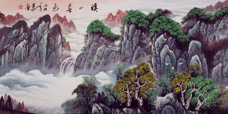 Creek Mountains Spring Color - Asian Art Landscape
