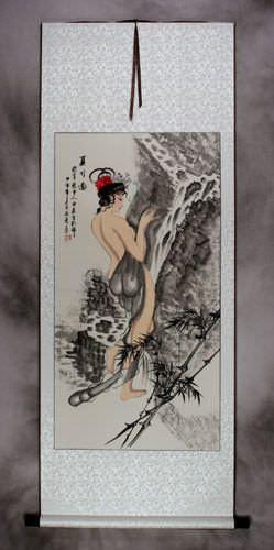 Summer Bamboo Semi-Nude Sexy Asian Woman Wall Scroll
