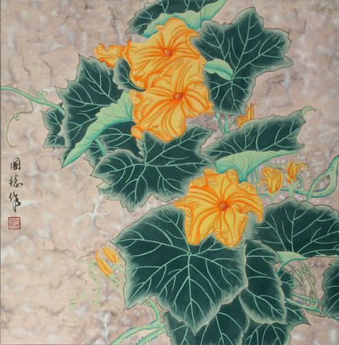 Vine Flowers Painting
