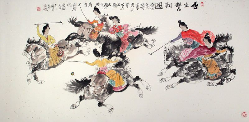 "See how ""Traditional Chinese Horseback Polo - Large Painting"" would look after being professionally framed"