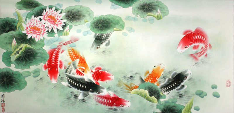 Koi Fish and Lotus Flower - Colorful Asian Art Painting