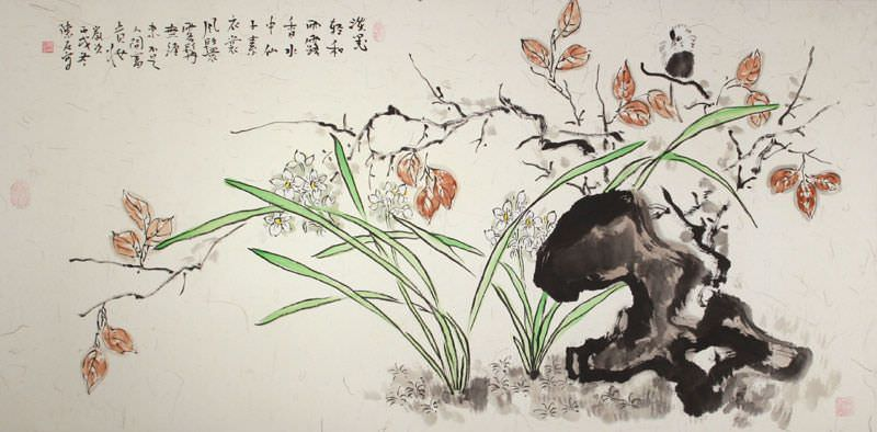 Ancient Chinese Style Bird and Flower Wide Painting