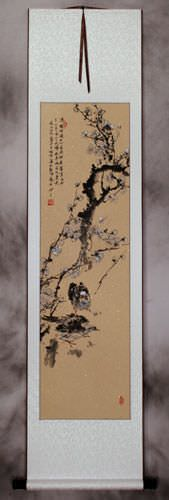 Birds and Plum Blossom Flowers Wall Scroll