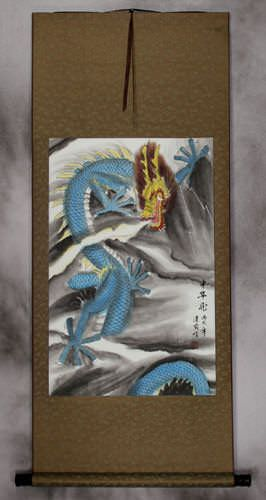 Blue Chinese Dragon - Copper Silk Wall Scroll