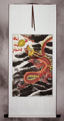 Chinese Red Dragon Silk Wall Scroll Tigers Amp Dragons