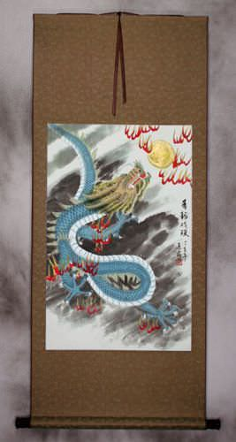 Blue Chinese Dragon - Asian Silk Wall Scroll