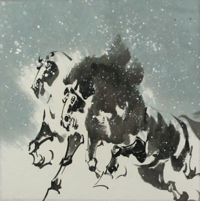 Chinese Horses in the Snow Painting