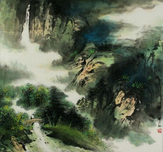"See how ""Home Sweet Home - Chinese Landscape Painting"" would look after being professionally framed"