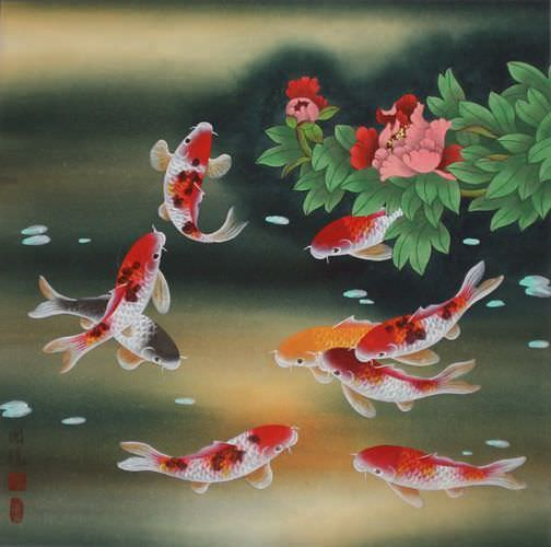 Nine Koi Fish and Flowers Chinese Painting