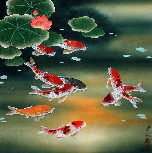 Nine koi fish and lotus flowers painting asian koi fish for Koi artwork on canvas