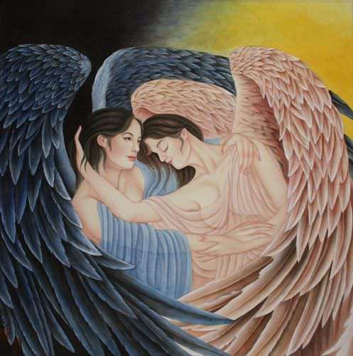 Angel Wings Embrace Painting