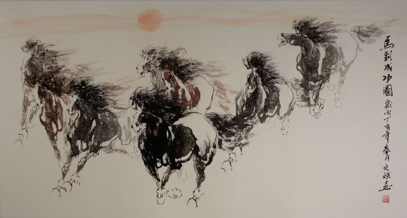 "See how ""Galloping Horses - Chinese Painting"" would look after being professionally framed"