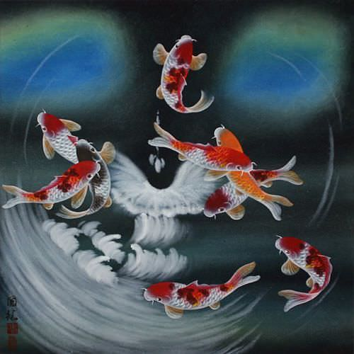 Blue Dreams Koi Fish Masterpiece Painting