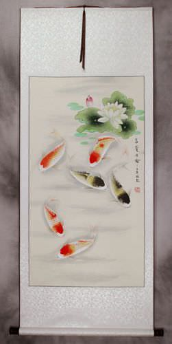 Chinese Koi Fish and Lotus Pond Wall Scroll
