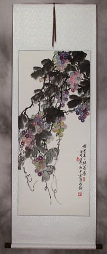 Traditional Chinese Grapes Wall Scroll
