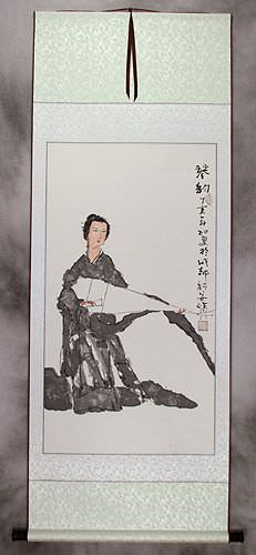 Woman and Lute Wall Scroll