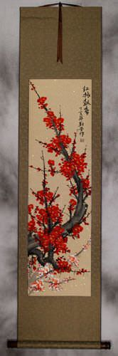Bright Red Plum Blossom Wall Scroll