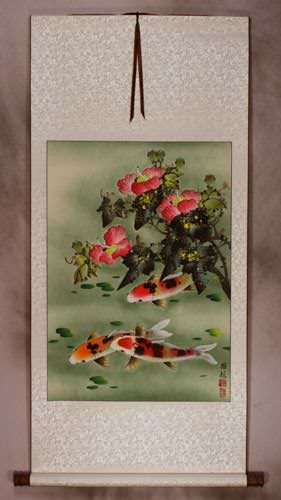 Koi Fish & Flower - Chinese Wall Scroll