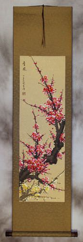 Reddish-Pink and Yellow Plum Blossom Wall Scroll