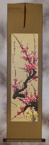 Chinese Reddish-Pink and Yellow Plum Blossom Wall Scroll