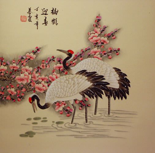 Cranes And Plum Blossoms Welcoming The Spring Birds