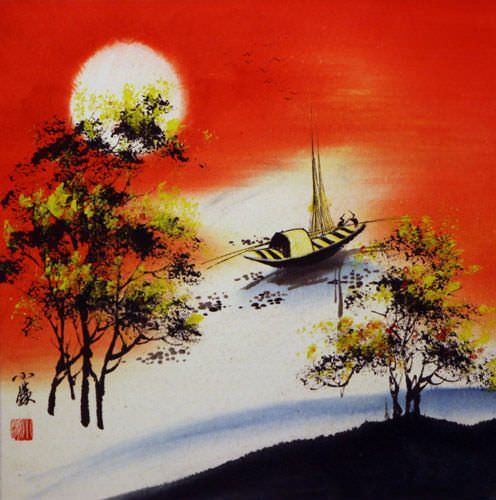 Resting Birds #1 - Colorful Asian Art Landscape Painting