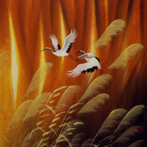 Autumn Flight Colorful Chinese Cranes Painting Asian Art