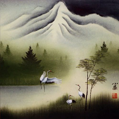 Cranes Dance at Pine Mountain - Asian Art Painting