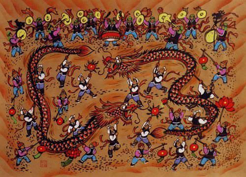 "See how ""Dragon Dancing Chinese Folk Art Painting"" would look after being professionally framed"