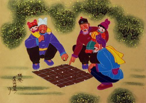 Game Play - Chinese Folk Art Painting