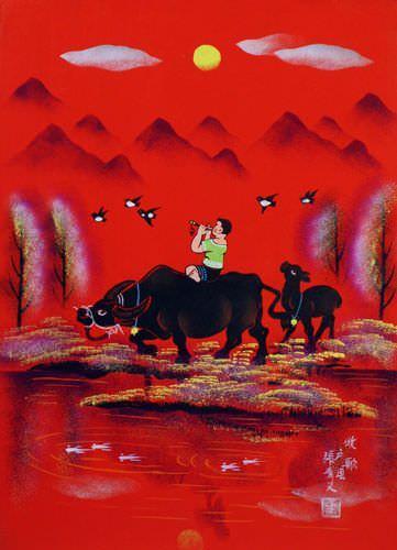 Song for the Herd - Folk Art Painting