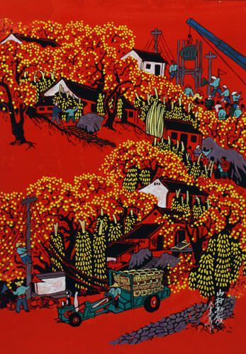 Mountain Village - New Look - Chinese Folk Art Painting