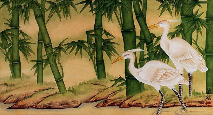 Egrets and Bamboo Chinese Painting