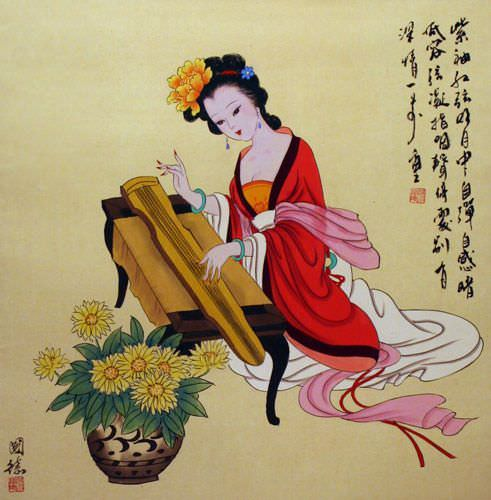 "See how ""Antique-Style Chinese Woman and Zither Painting"" would look after being professionally framed"