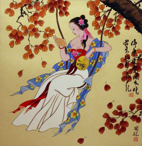 Antique-Style Chinese Woman Swinging and Book Reading Painting