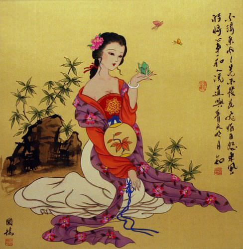 Large Antique-Style Chinese Woman Painting