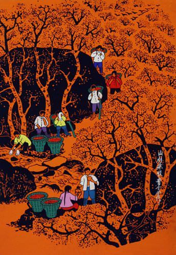 Mountain Village Harvest - Huxian Chinese Folk Art