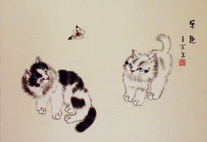 Two Kittens and Butterfly Painting