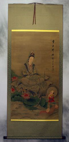 Image Of Guanyin Buddha Diety Partial Print Wall Scroll