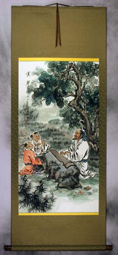 Enjoying the Chinese Zither Music - Wall Scroll