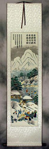 Winter Gathering in North Korea Wall Scroll