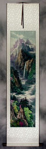 North Korean Waterfall Landscape Wall Scroll