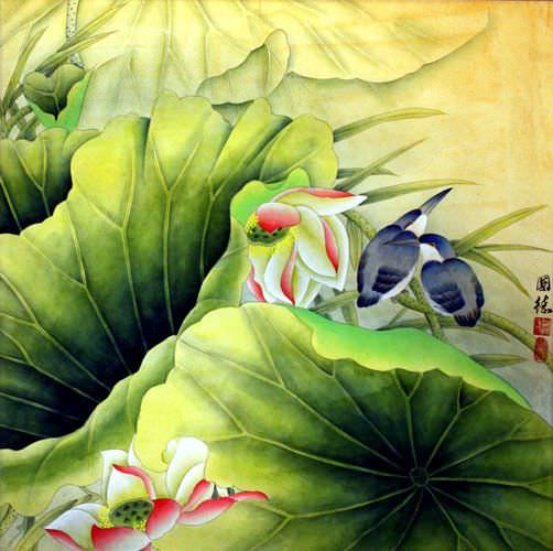 Bird Amp Lilies Painting Birds Amp Flowers Wall Scrolls