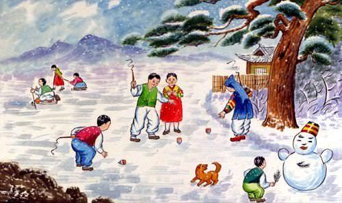 North Korean Snowy Village Children Painting